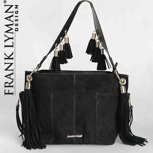 NWT FRANK LYMAN DESIGN black tassel shoulder bag